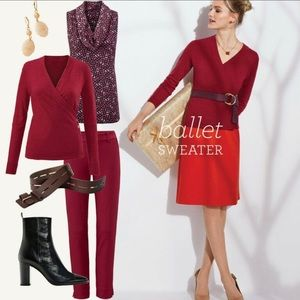 Cabi💕Ballet Red Cardigan Foldover Button XS